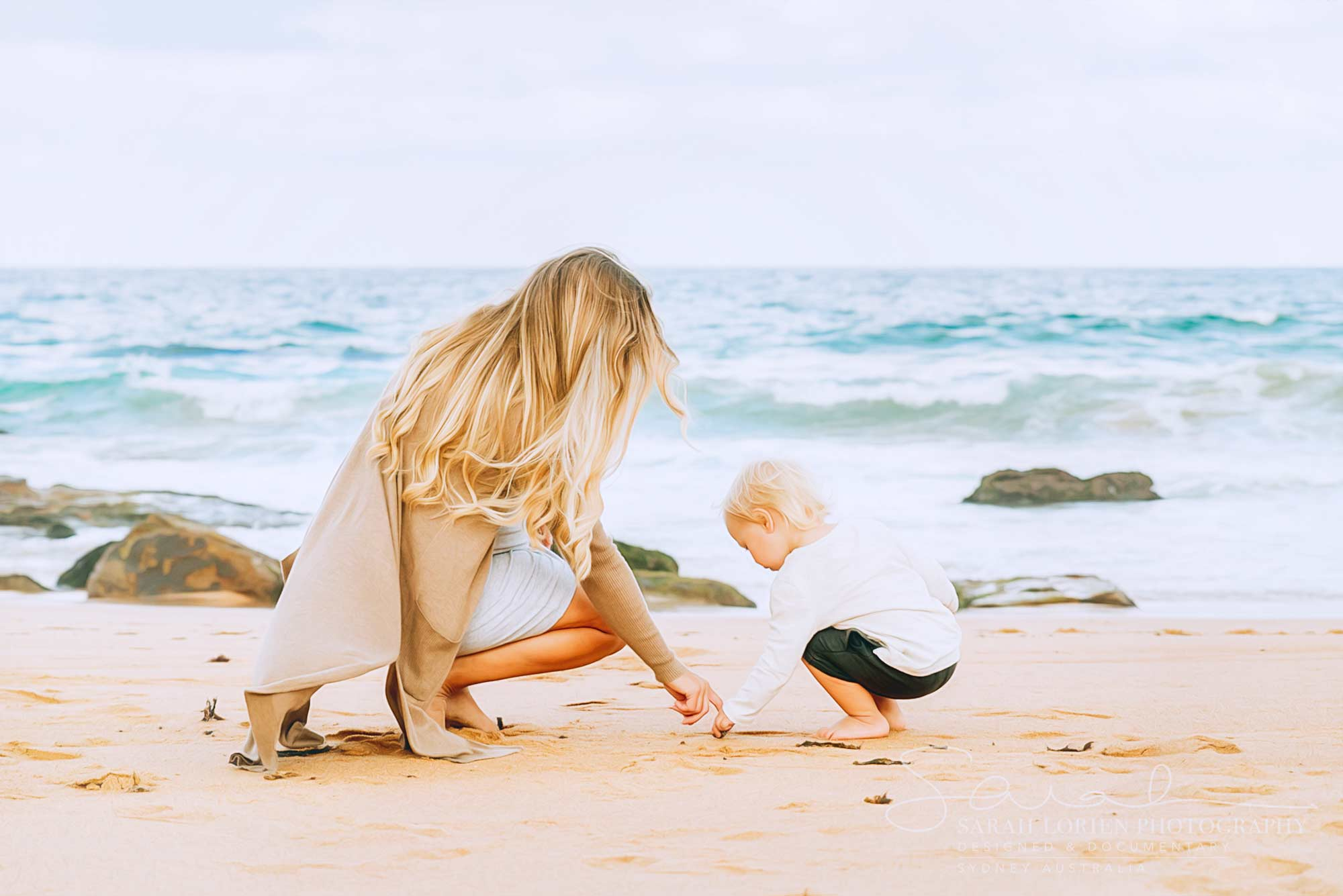 mum and toddler at the beach