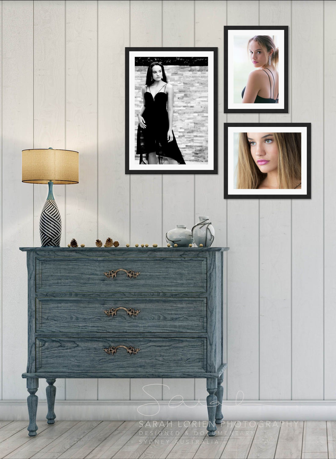 Framed portraits hanging on the wall